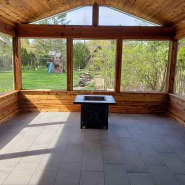 fire pit and tile in three season room