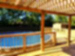 pool wood deck