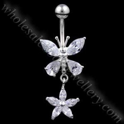 Butterfly Flower Silver & Steel Navel (BM108)