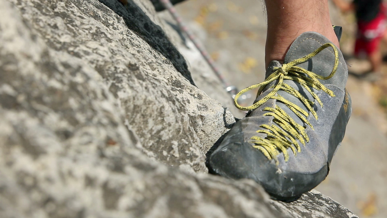 Details of a rock climbing in nature.mov