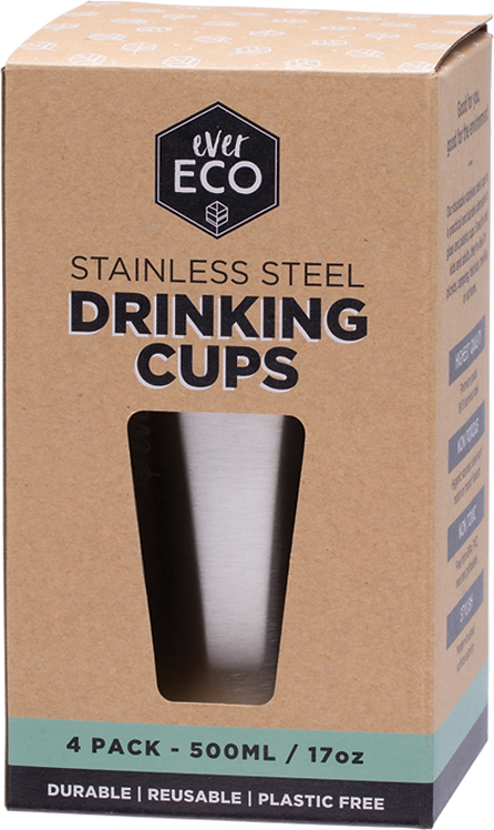 Ever Eco Stainless Steel Drinking Cups 4 x 500ml
