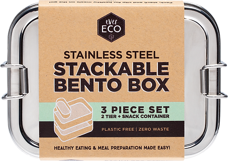 Ever Eco Stainless Steel Stackable Bento Box  2 tier + Mini Container 1200ml