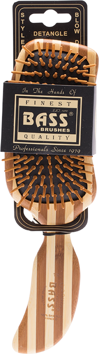 BASS Brushes Bamboo Wood Hair Brush Semi S Shaped