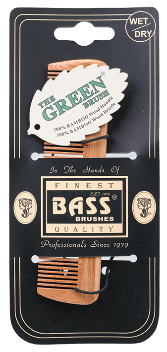 BASS Brushes Bamboo Wood Tortoise Comb Pocket size