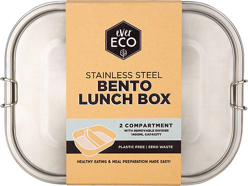 Ever Eco Stainless Steel Bento Lunch Box  2 compartment with Removable Divider