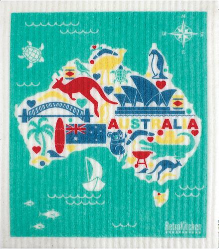 RetroKitchen Dishcloth Australia Map