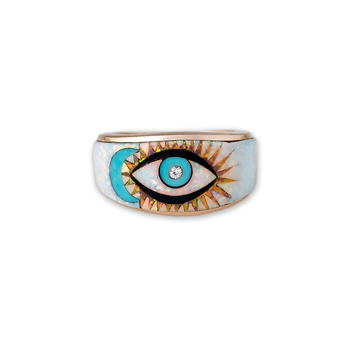 Jacquie Aiche - RG Opal Inlay Eye Ring Blue Moon RT