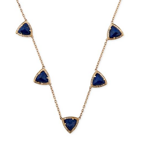 Jacquie Aiche - 5 Gemstone Pyramid Necklace Lapis