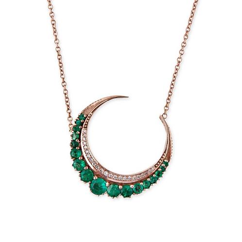 Jacquie Aiche - Emerald Crescent Moon Necklace