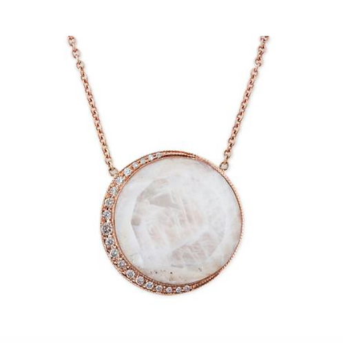 Jacquie Aiche - Round Moonstone Pave Crescent Necklace