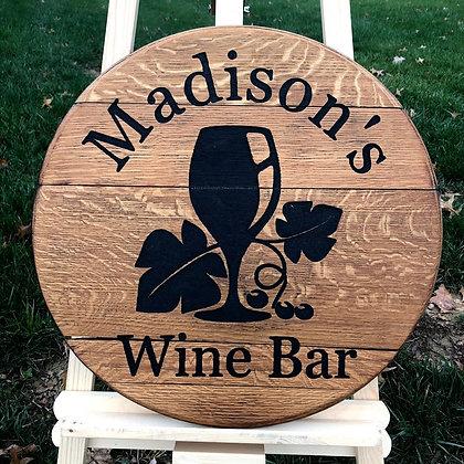 Personalized Wine Bar Barrel Head