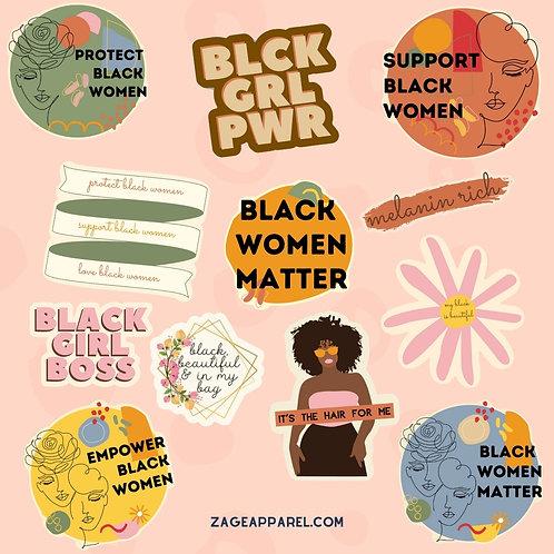 """""""Black Women Matter"""" Sticker Set"""
