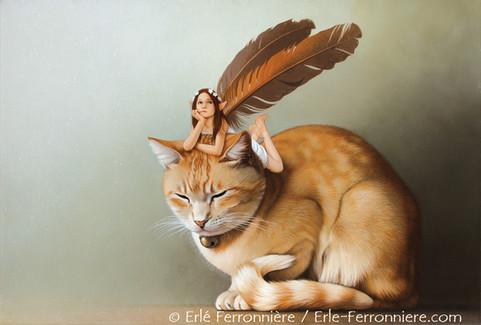 La fée sur le chat roux © Erlé Ferronnière