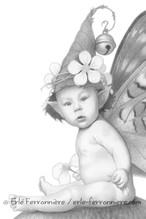 Bébé fée sur un champignon (dessin - détail) © Erlé Ferronnière