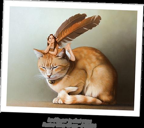La fée sur le chat roux