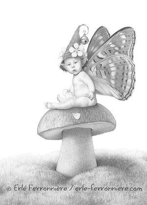 Bébé Fée sur un champignon (crayon) / Fairy baby on a mushroom (drawing)