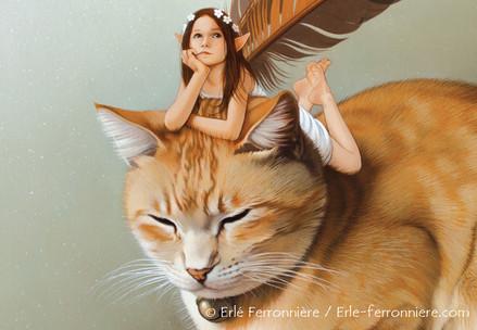 La fée sur le chat roux (détail) © Erlé Ferronnière