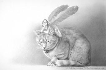 La fée sur le chat roux (dessin) © Erlé Ferronnière