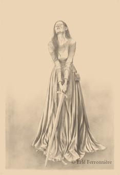 La dame à l'épée (dessin) © Erlé Ferronnière