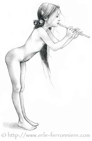 Fée jouant de la flûte © Erlé Ferronnière