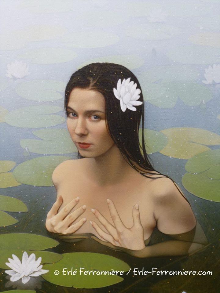 Ondine (détail) - peinture acrylique sur toile 50x70 cm Modèle : Steffie Selkie