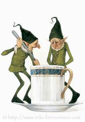 Halloween - Les lutin faisant pipi dans la tasse © Erlé Ferronnière