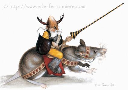 Halloween - Le chevalier lutin sur un rat © Erlé Ferronnière