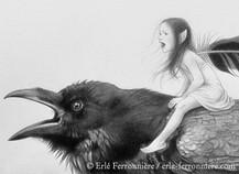 La fée sur le corbeau (dessin - détail) © Erlé Ferronnière