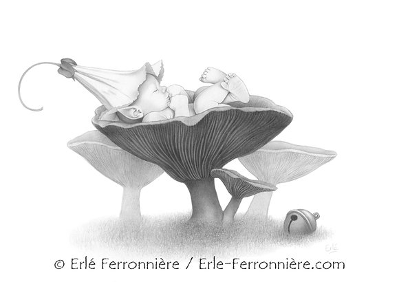 Bébé fée sur une girolle (dessin) / Fairy baby on a chanterelle (drawing)