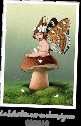 Le bébé fée sur un champignon
