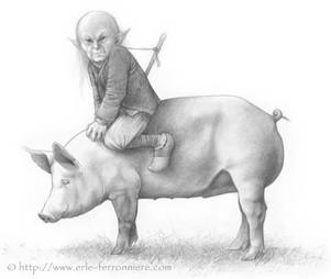 Korrigan sur un cochon © Erlé Ferronnière
