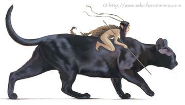 La fée sur le chat noir © Erlé Ferronnière