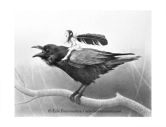La Fée sur le corbeau (noir & blanc)
