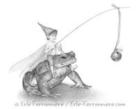 Le pixie sur le crapaud © Erlé Ferronnière