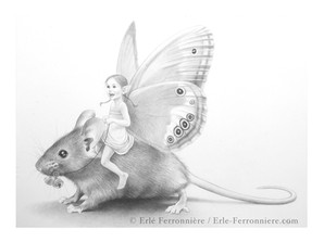 La fée sur la souris (dessin) © Erlé Ferronnière