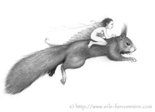 La fée sur l'écureil © Erlé Ferronnière