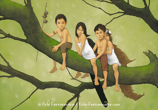 Pixies  sur  une branche © Erlé Ferronnière