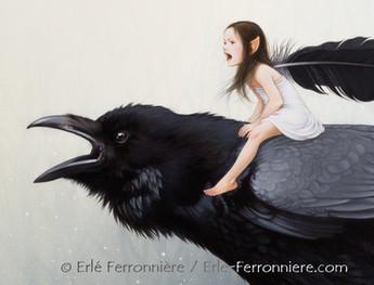 La fée sur le corbeau (détail) © Erlé Ferronnière