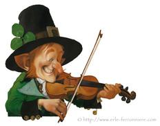 Leprechaun jouant du violon © Erlé Ferronnière