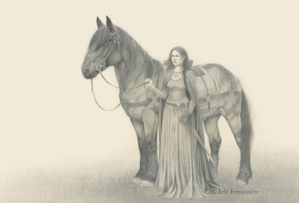 Cavalière (dessin) © Erlé Ferronnière
