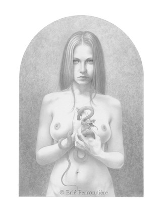 La femme au serpent (dessin) © Erlé Ferronnière