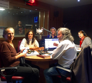 Speaking on the radio in Buenos Aires