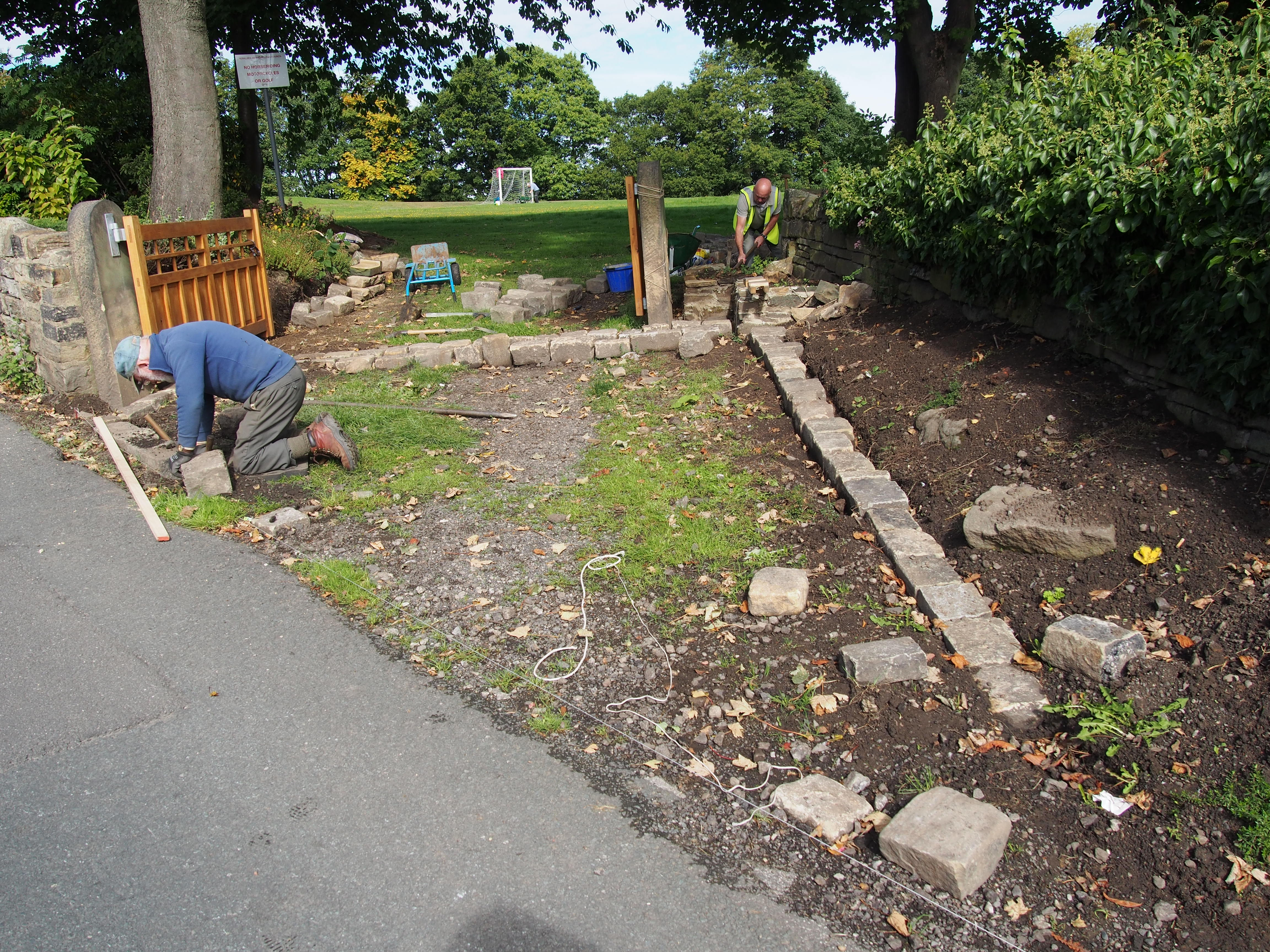 New cobbles at recreation ground