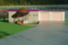 Front rendering of a lake party house