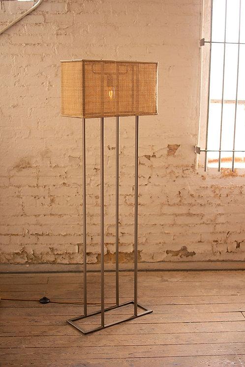 Metal and rattan floor lamp light