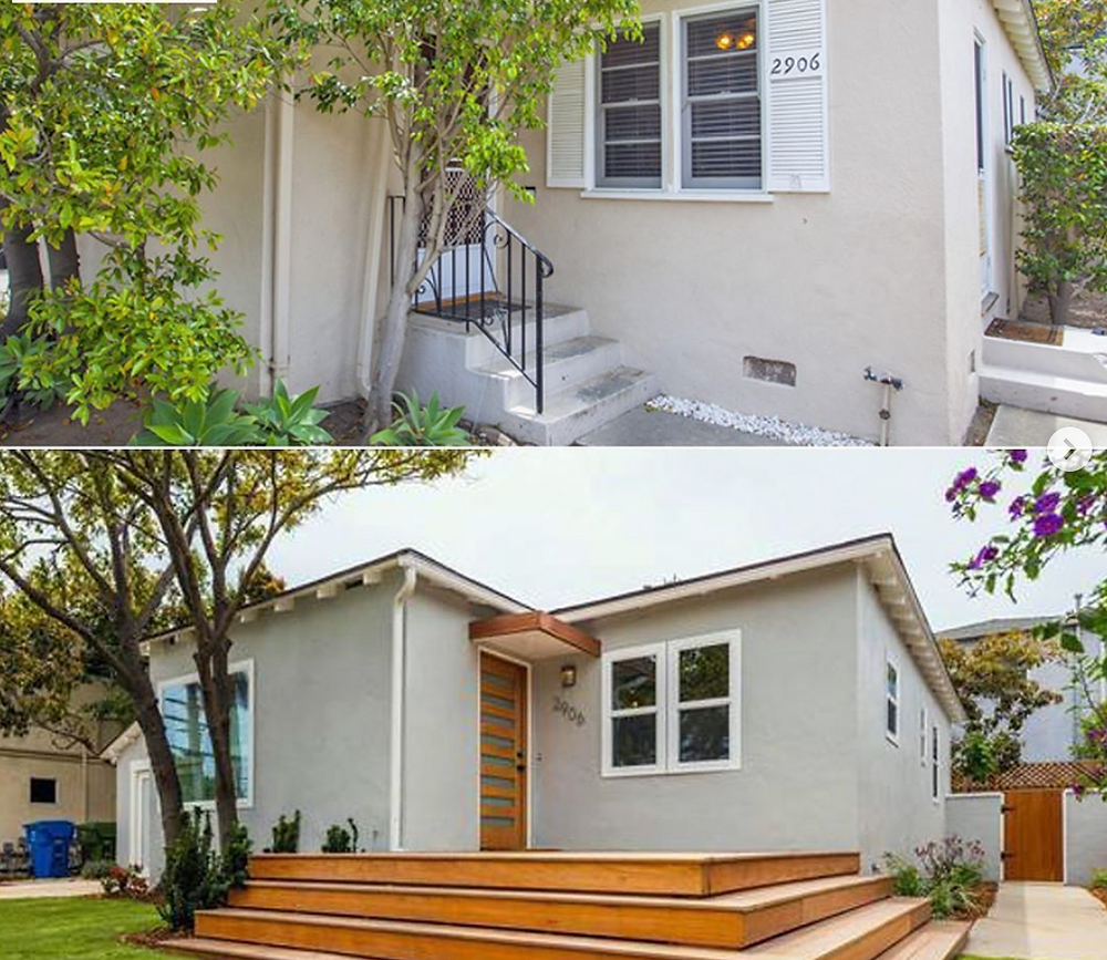 Before and after exterior renovation.