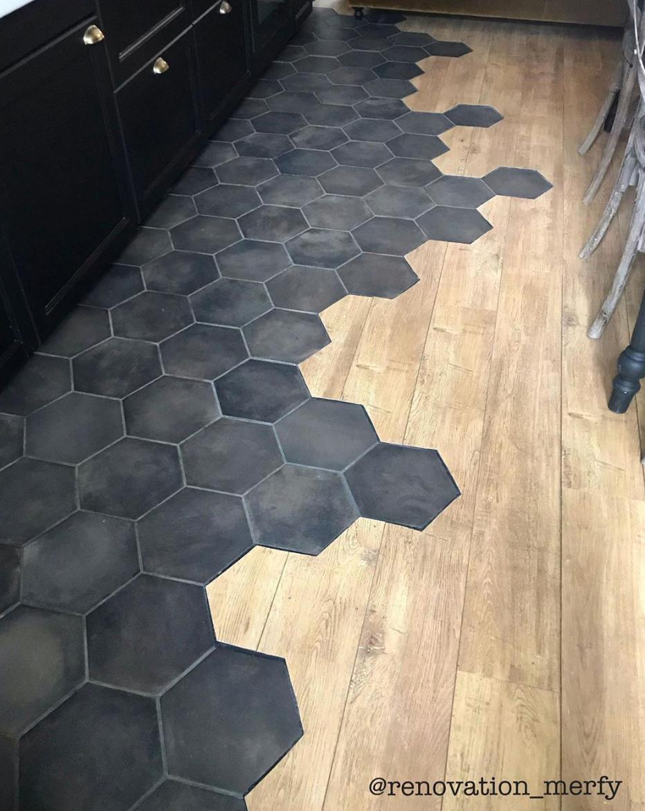 Black hex kitchen tile, Hex tile to wood floor transition