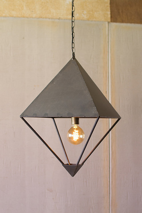 Metal diamond pendant light