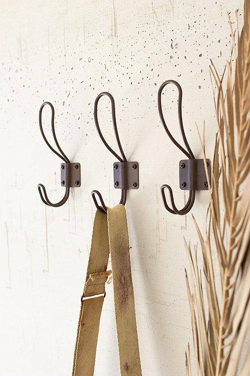Box of 24 rustic metal coat hooks with screws