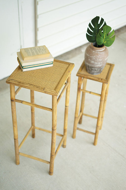 Set of 2 bamboo pedestal tables